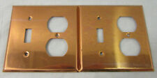 Lot of 2 Vintage Copper Outlet/Light Switch Combo Covers, Unbranded