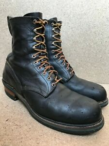 VTG🔥 Red Wing Logger Firefighter Tall Black Boots 13 Made In USA Steel Toe