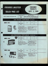 Channel Master 1969 Radio Tape Deck TV Walkie Talkie Vintage Dealer Price List