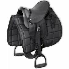 vidaXL Pony Saddle Set 10' Black Horse Equestrian Blanket Stirrup Belt Girth