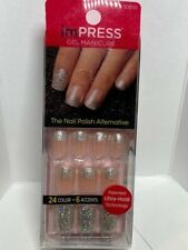 Impress Gel Manicure Press on Nails Short Glitter Silver with solid accent nail