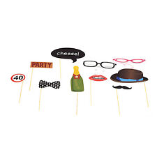 10 Piece Party Photobooth photo booth Glossy Card Party Props Set holding sticks