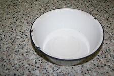 Vintage Enamel Porcelain WHITE BLACK Trim Wash Basin Bowl Pan Enamelware Rustic