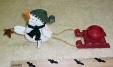 Teelichthalter Weihnachten Schneemann mit Schlitten und Stern Holz
