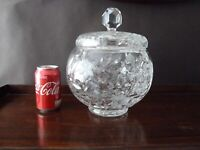 Vintage Cut and Etched Crystal Punch Bowl With Lid, 27cm tall