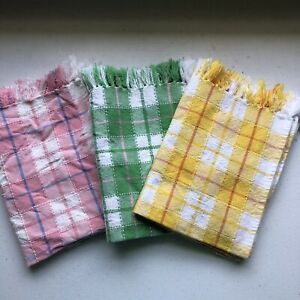 Set of 6 Summer Table Napkins or Placemats Checks Fringe Yellow Pink Green EUC