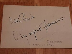 AUTOGRAPHS BETTY PAUL + OLYMPIC ADAGIO DANCERS, 'NIGHT AND THE MUSIC 1945 SIGNED