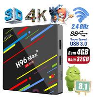 4K WiFi H96 Max Plus 4GB+32GB Android 8.1 Quad-Core Smart TV BOX Media Caja USB