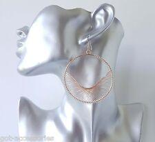 Splendido Rose Gold Tone forma rotonda filo avvolto leggero Orecchini Pendenti