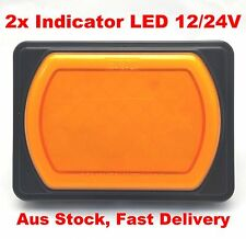 2x  LED Indicator Lights Truck Trailer Caravan Rectangle Brytec Single Jumbo