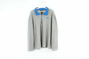 The North Face Mens XL Spell Out Half Zip Pullover Fleece Sweater Gray Blue