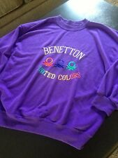 Vtg United Colors Of Benetton Sweatshirt 80s 90s Shirt L Purple M/L