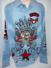 Christian Audigier Polo Long Sleeve Rugby Embroidered Graphic Mens Shirt SZ L/XL