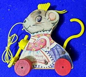 Vintage Fisher Price Merry Mousewife Wooden Pull Toy w/Sweeping Broom (1962)