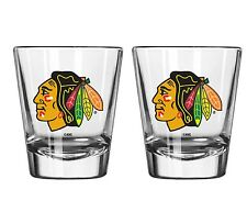 Chicago Blackhawks Satin Etch Shot Glass - 2 Pack [NEW] NHL Drink Bar Cup Beer