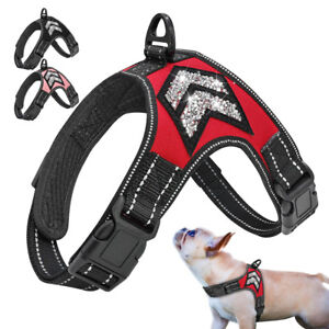 Reflective Bling No Pull Dog Harness Soft Mesh Pet Walking Vest Small Large Dogs