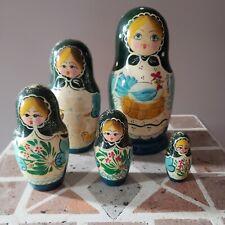 "Russian Matryoshka Nesting Dolls Signed 5 Piece 7"" Spring Scene Feeding Chickens"