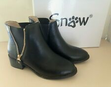 NEW! SNOW Women's Black Fleecy Lined Chelsea Ankle Boots Decorative Zip UK 4