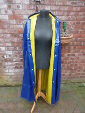 SHINY blue yellow heavy pvc vinyl rain cape with hood reversible regenmantel