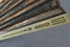 hand fan 18th 19thc carved bovine bone embossed gold foil mirror antique 1800