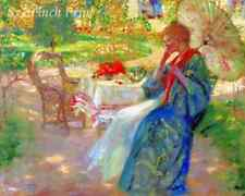 Woman in the Garden by Pauline Palmer - Parasol Flowers 8x10 Print Picture 1639