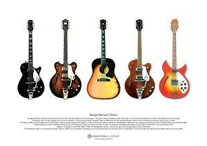 George Harrison's Guitars ART POSTER A3 size