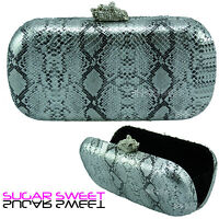 Ladies Silver Snakeskin Leather Style Box Clutch Bag Evening Party Handbag