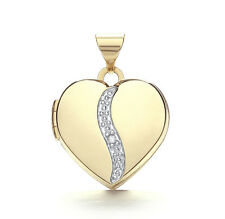 "Diamond Heart Locket Yellow Gold 18"" Chain Solid Hallmarked"