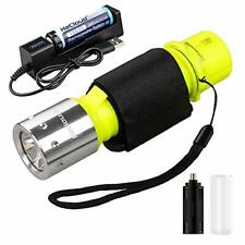 New listing HECLOUD Scuba Diving Flashlight Snorkeling Dive Torch Light IPX8 yellow