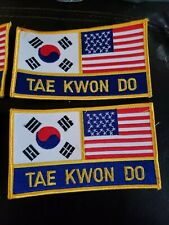 """Lot of 4 Taekwondo Patch Usa Flag & Korean Flag Patch Sew On Patch 5""""x3"""""""