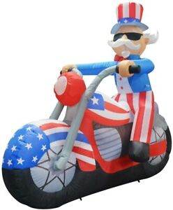 6 FT PATRIOTIC UNCLE SAM RIDING A MOTORCYCLE AIRBLOWN INFLATABLE YARD DECOR