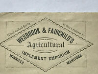 1880 Winnipeg Split Ring Cancel Front Cover agricultural Ad Wesbrook Fairchild's