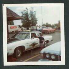 Vintage Car Photo Midland Police Officer & Boy w/ Service Hat 1970s Olds 384113