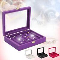 Glass Jewelry Case Organizer Box Holder Velvet Storage Earring Display Ring  UK