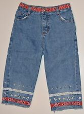 Sonoma Girls Size 6X Denim Capris Super Cute Red Bandana