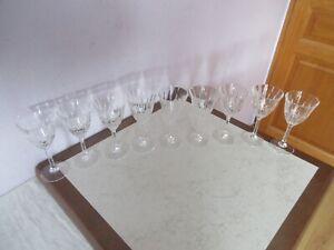 anciens verres a vin en cristal lot de 9 vintage.