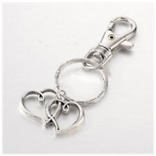 Heart to Heart Alloy Key Chains, with Iron Key Rings, Antique Silver Brand New