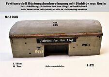 Nr.1235 Fertigmodell Rüstungsbunkereingang m.Stahltür WKII 1:72 Resin f.Diorama