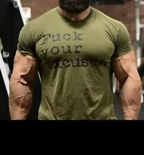 Men F*K your Excuses Military Green Gym Tee Size M