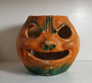 "Vintage Halloween Paper Mache Pulp JOL Pumpkin 5¾"""