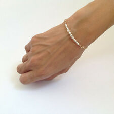 Women Elegant Gold Pearl Bead Handmade Chain Bangle Bracelet Jewelry
