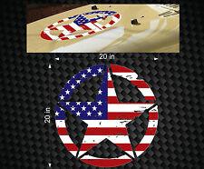 "Military Jeep Wrangler FLAG Distressed Star Hood decal 20"" TJ Rubicon Oscar Mike"