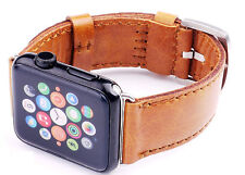 Quality Handmade Orange Leather Watch Strap Band For Apple Watch Series 4 44mm