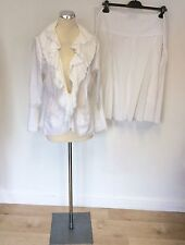 LISA CAMPIONE WHITE COTTON FRILL JACKET & FULLER SKIRT SUIT SIZE 42/44 UK 14/16