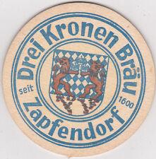 alter  Bierdeckel  Bierfilz  Drei Kronen Bräu Zapfendorf