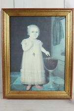 Antique 1800s Folk Art Primitive Portrait Young Girl Joshua Johnson Reproduction