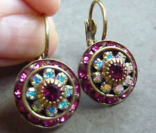 LIZ PALACIOS  Rondell Drop Earrings.Antique brass Beautiful Pin Fucsia .