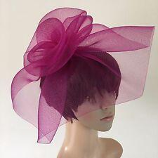 dark pink plum purple crin fascinator headband headpiece wedding ascot bridal