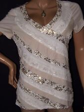 White House Black Market Women's Sequins Ruffled Lace V-neck Top Shirt SIZE XL