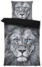 Wende Bettwäsche 135x200 cm Löwe grau schwarz Tiere Garnitur Microfaser Set